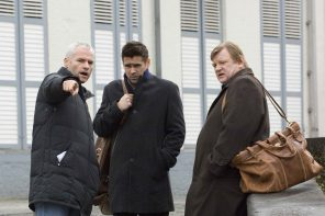 Martin McDonagh directs Colin Farrell & Brendan Gleeson on the set of In Bruges. Photo credit: Jaap Buitendijk. © 2007 Focus Features