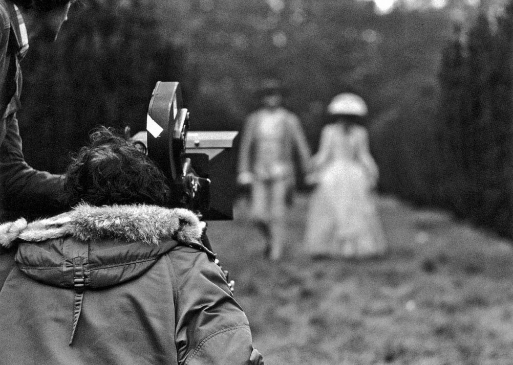 Stanley Kubrick filming Barry Lyndon. Still photographer: Keith Hamshere