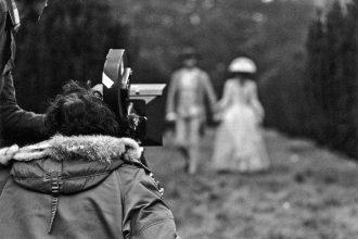 Stanley Kubrick filming Barry Lyndon. Still photographer: Keith Hamshere
