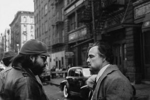Francis Ford Coppola and Marlon Brando prepare to shoot an exterior New York scene for THE GODFATHER, courtesy of the Margaret Herrick Library and the Academy Film Archive. Still photographer: Jack Stager