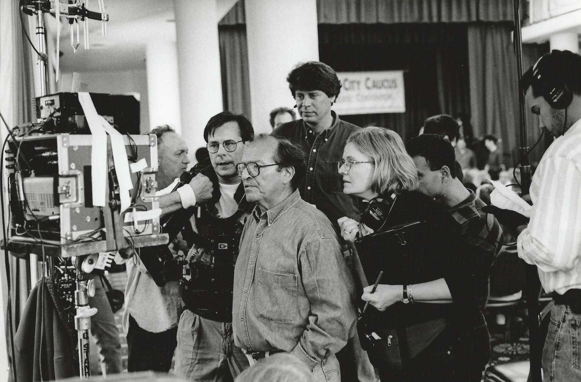 Martha Pinson with Sidney Lumet on the set of 'Night Falls on Manhattan.' Photo Credit Adger Cowans