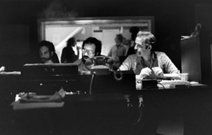 Sound montage associate Mark Berger, left, diretor Francis Ford Coppola and sound montage/re-recording mixer Walter Murch mixing The Godfather II in October 1974. Photo courtesy of Walter Murch