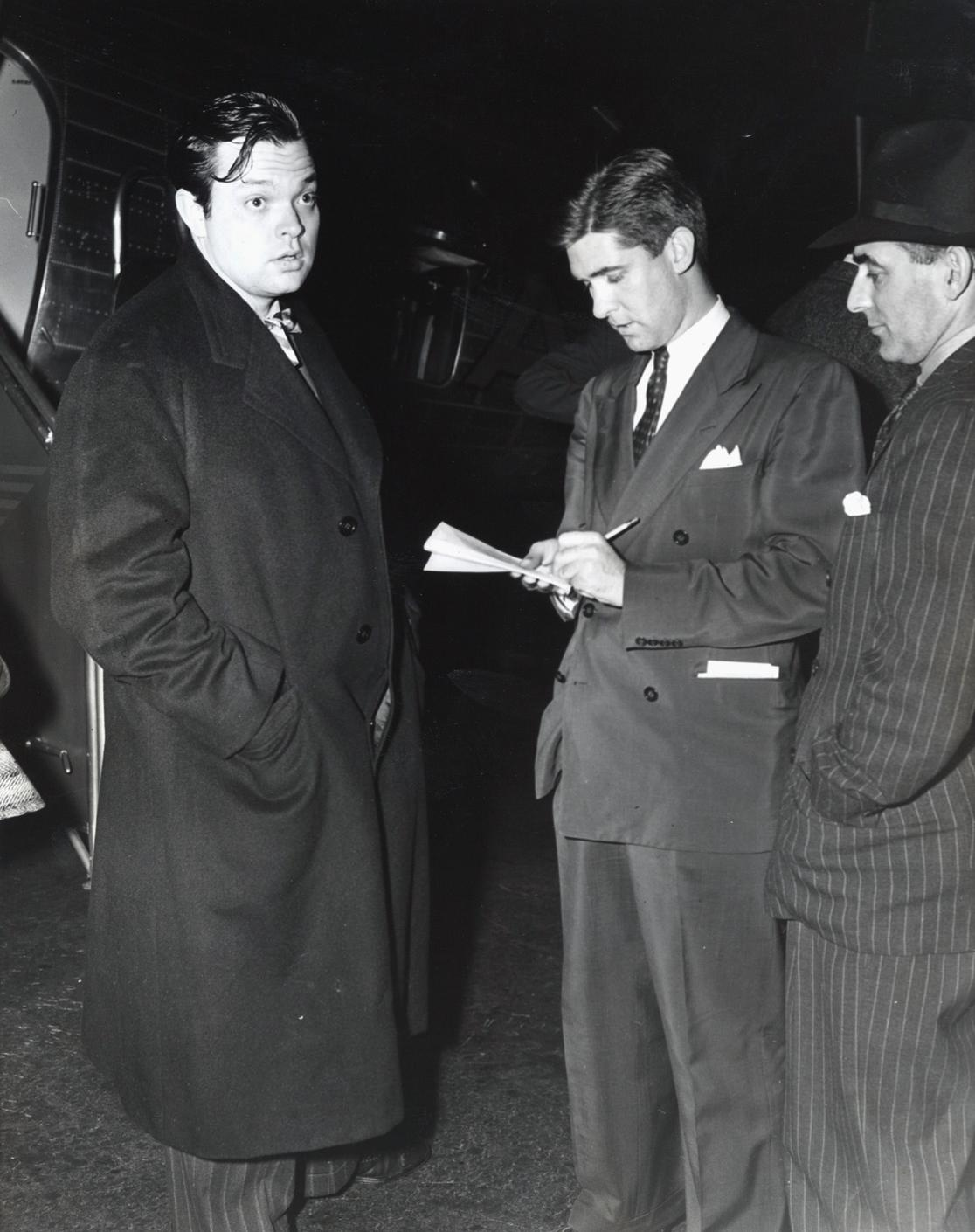 Orson Welles arriving for the New York premiere of Citizen Kane on May 1, 1941.