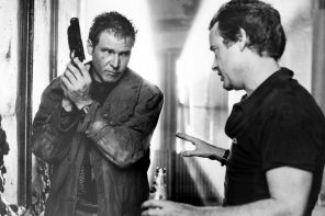 Ridley Scott and Harrison Ford on the set of Blade Runner. Still photographer: Stephen Vaughan © Warner Bros.