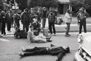 The first day of shooting on the set of Back to the Future. Production still photographer: Ralph Nelson © Universal Pictures, Amblin Entertainment, U-Drive Productions